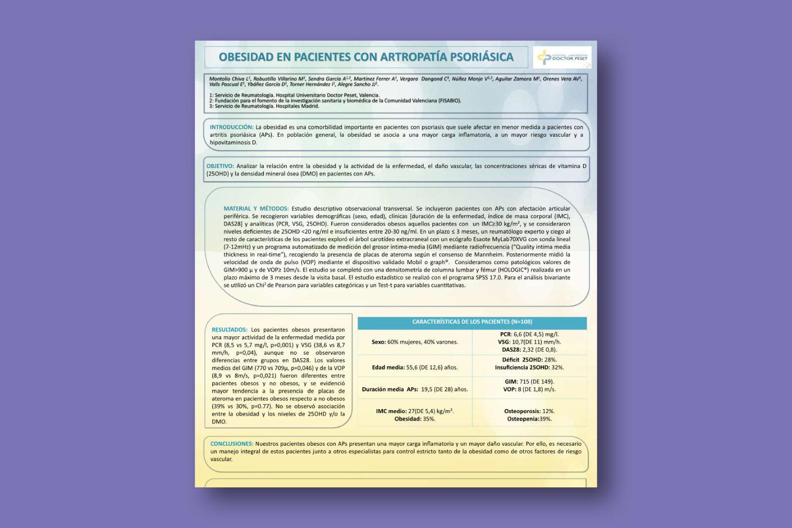 Obesidad en pacientes con Artropatía Psoriásica