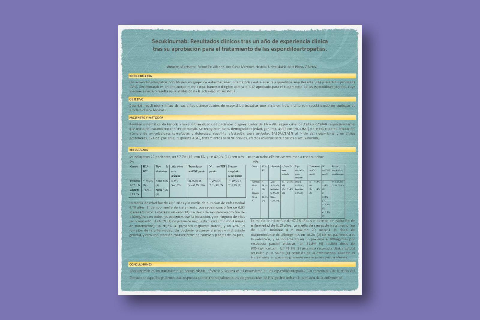 Secukinumab: resultados clínicos tras un año de experiencia clínica tras su aprobación para el tratamiento de las Espondiloartropatías