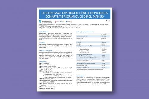 Ustekinumab: experiencia clínica en pacientes con Artritis Psoriática de difícil manejo
