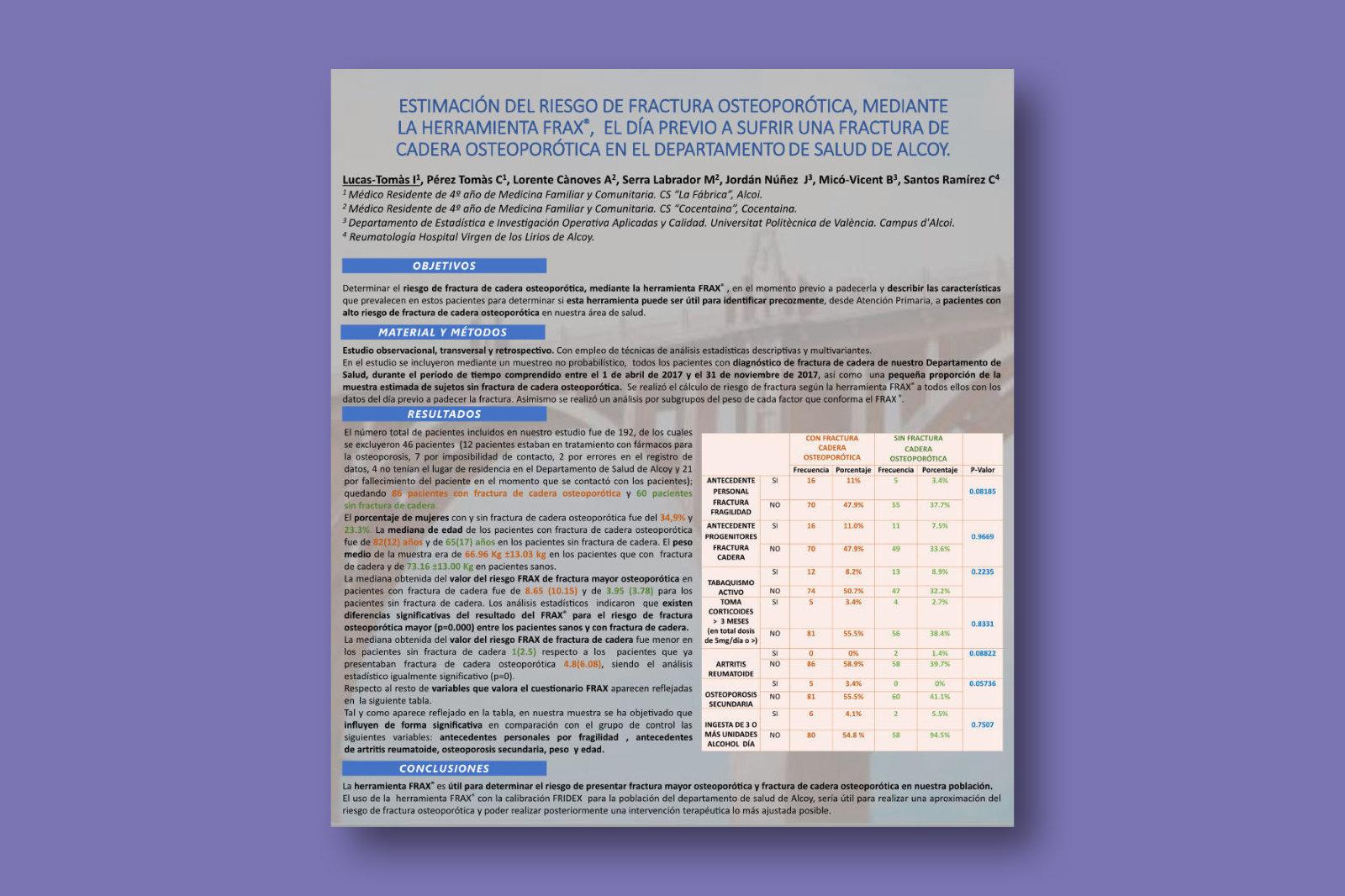 Estimación del riesgo de fractura osteoporótica, mediante la herramienta Frax, el día previo a sufrir una fractura de cadera osteoporótica en el Departamento de Salud de Alcoy