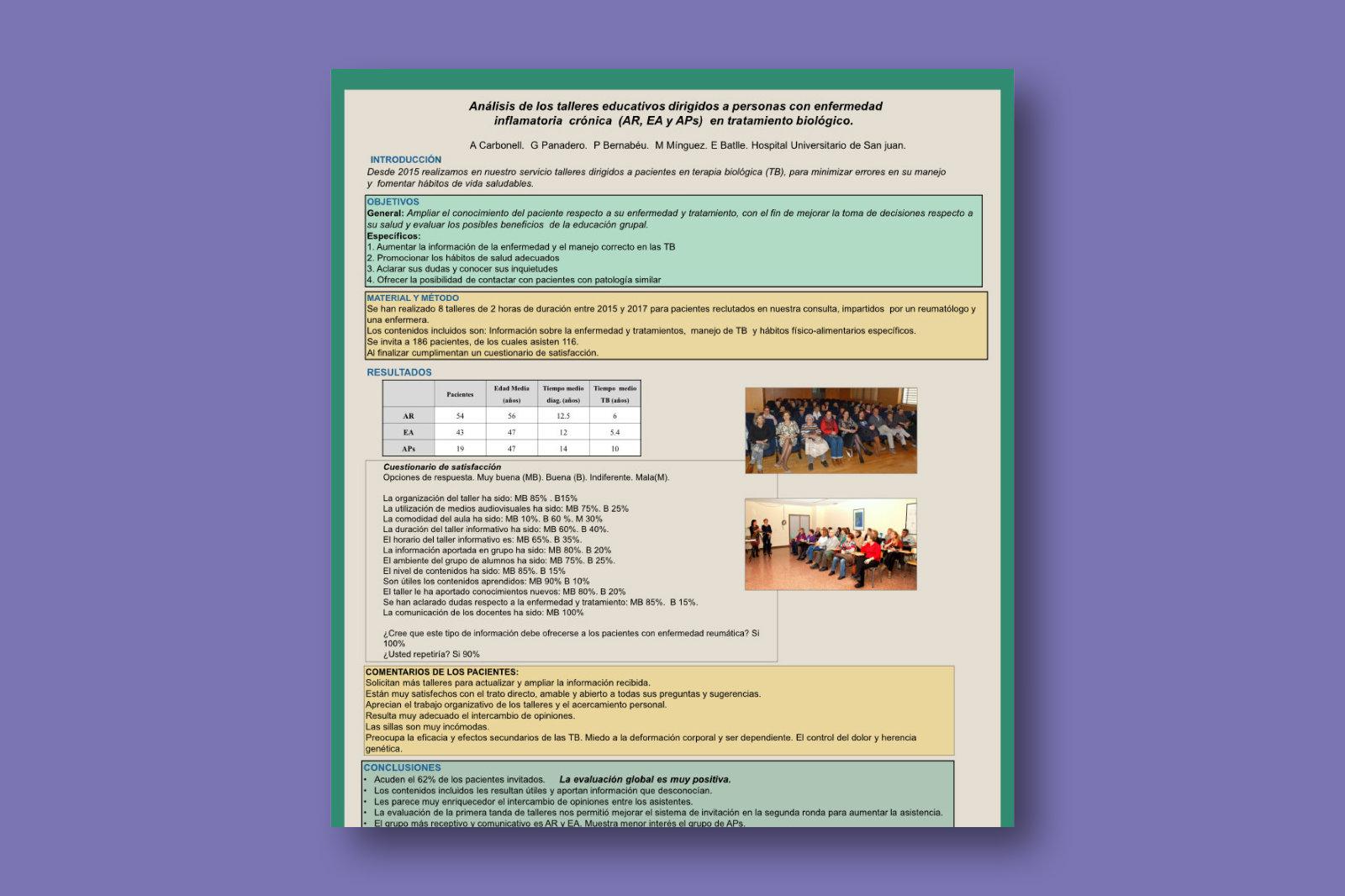 Análisis de los talleres educativos dirigidos a personas con enfermedad inflamatoria crónica (AR, EA y APs) en tratamiento biológico