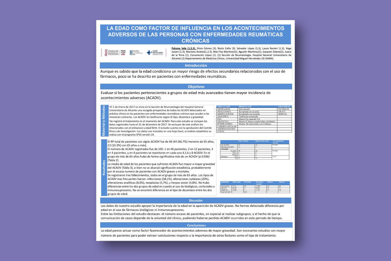 La edad como factor de influencia en los acontecimientos adversos de las personas con enfermedades reumáticas crónicas