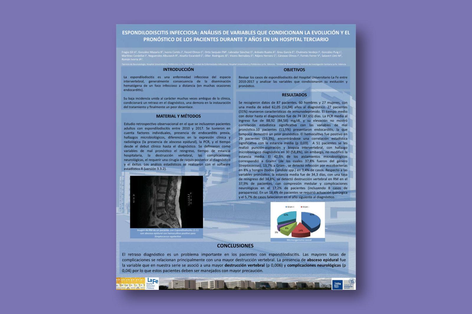 Espondilodiscitis infecciosa: análisis de variables que condicionan la evolución y el pronóstico de los pacientes durante 7 años en un hospital terciario