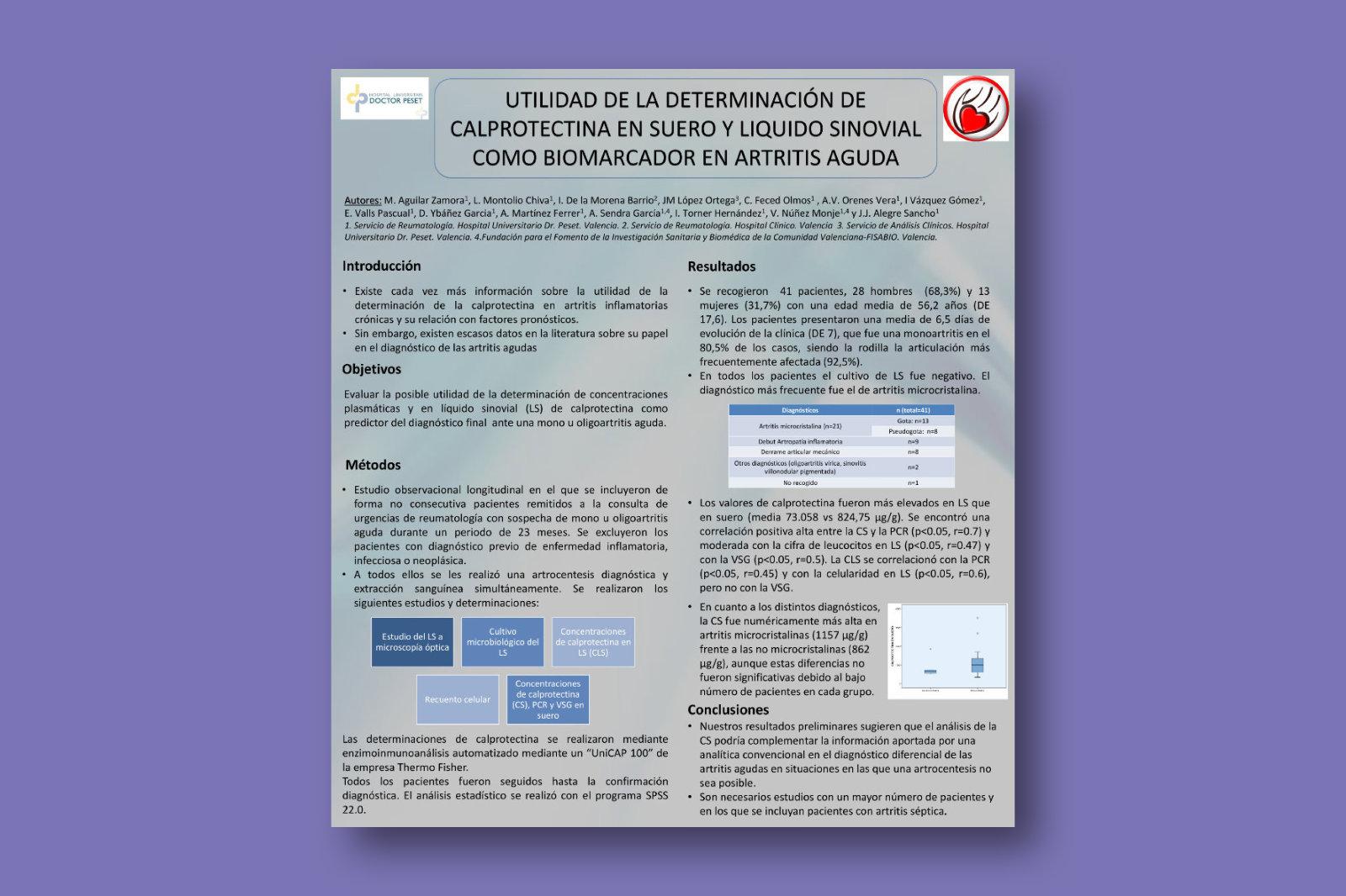 Utilidad de la determinación de calprotectina en suero y líquido sinovial como biomarcador en artritis aguda