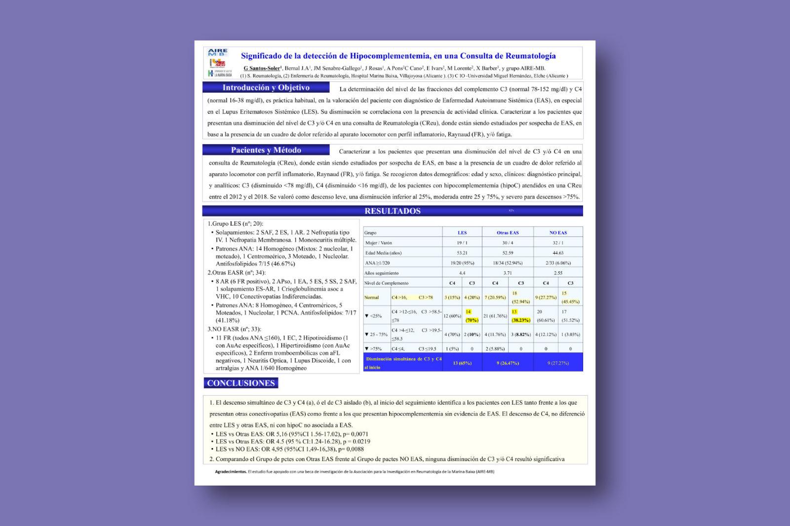 Significado de la detección de hipocomplementemia, en una consulta de reumatología