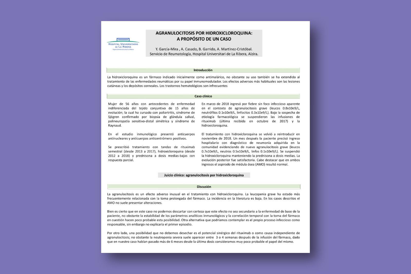 Agranulocitosis por hidroxicloroquina: a propósito de un caso