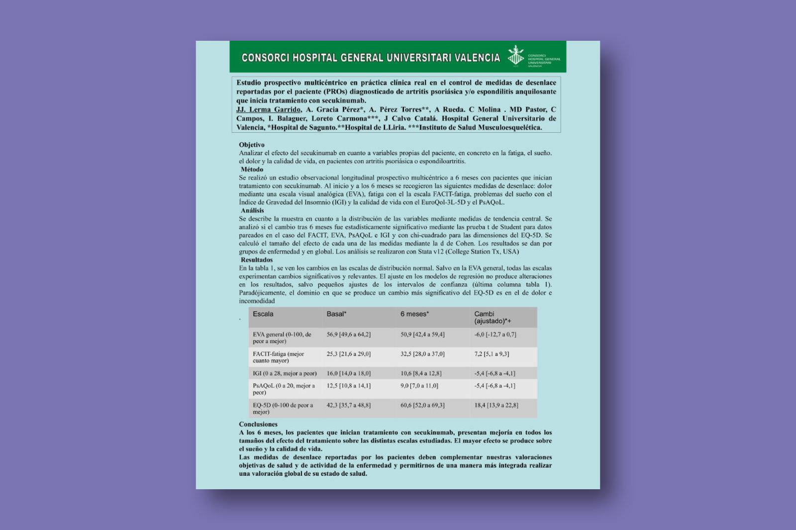 Estudio prospectivo multicéntrico en práctica clínica real en el control de medidas de desenlace reportadas por el paciente (PROs) diagnosticado de artritis psoriásica y/o espondilitis anquilosante que inicia tratamiento con secukinumab