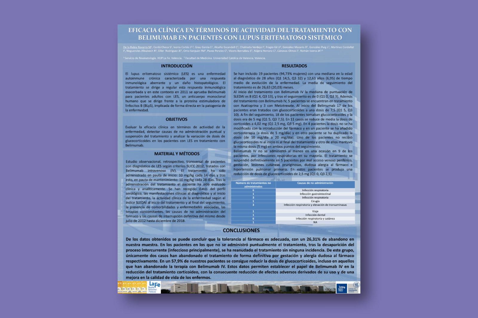 Eficacia clínica en términos de actividad del tratamiento con belimumab en pacientes con lupus eritematoso sistémico