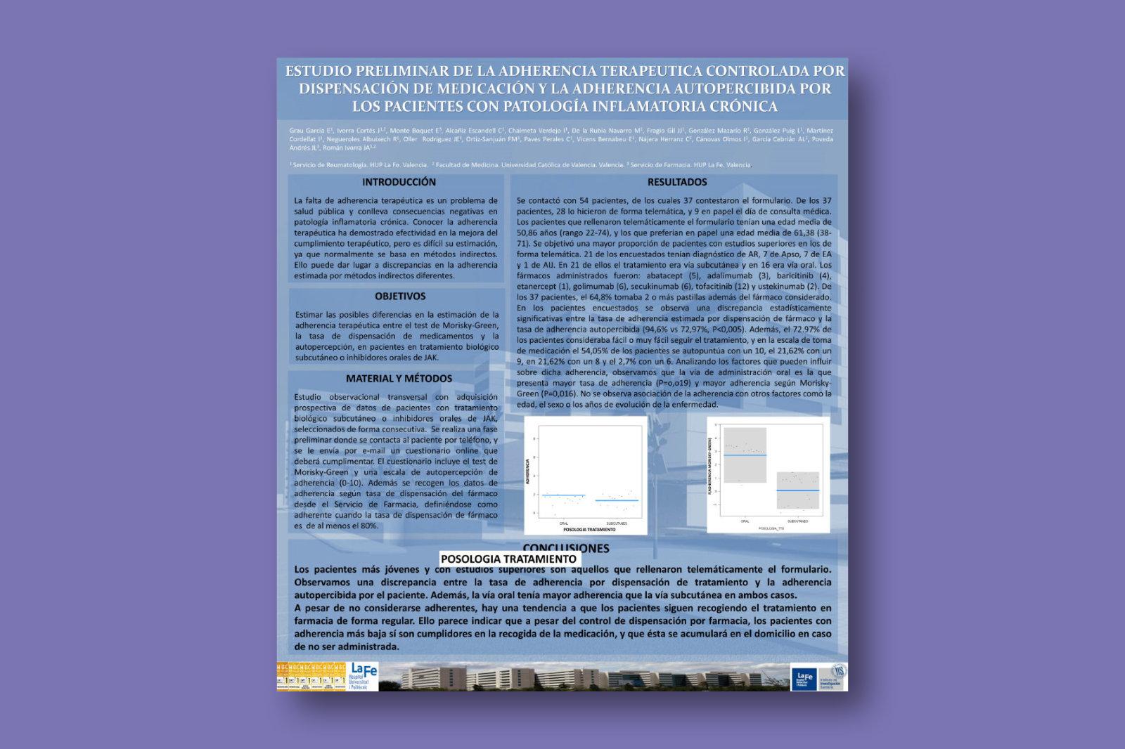 Estudio preliminar de la adherencia terapéutica controlada por dispensación de medicación y la adherencia autopercibida por los pacientes con patología inflamatoria crónica
