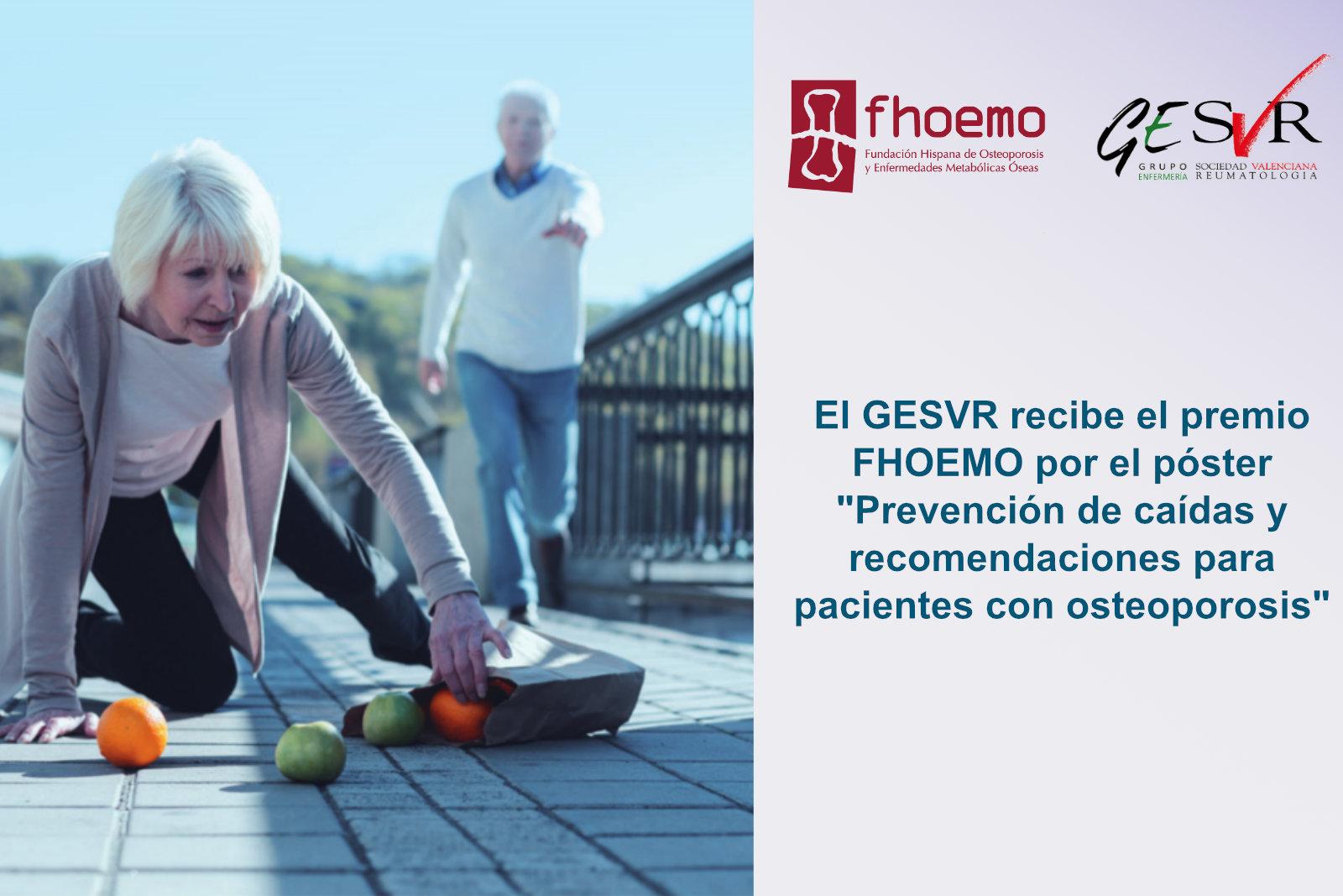 """El GESVR recibe el premio FHOEMO por el póster """"Prevención de caídas y recomendaciones para pacientes con osteoporosis"""""""