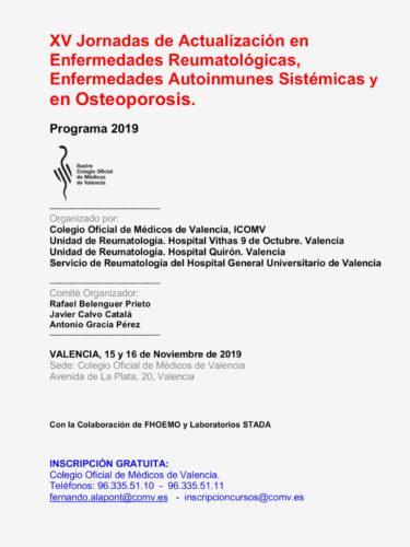 XV Jornadas de Actualización en Enfermedades Reumatológicas, Enfermedades Autoinmunes Sistémicas y en Osteoporosis