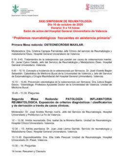 XXXI Simposium Reumatología: Problemas reumatológicos frecuentes en asistencia primaria