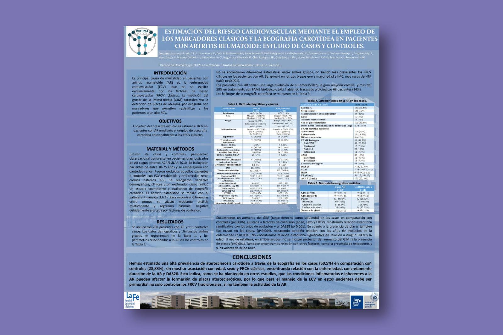 Estimación del riesgo cardiovascular mediante el empleo de los marcadores clásicos y la ecografía carotídea en pacientes con artritis reumatoide: estudio de casos y controles