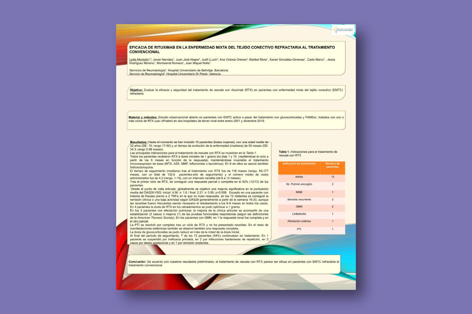 Eficacia de rituximab en la enfermedad mixta del tejido conectivo refractaria al tratamiento convencional