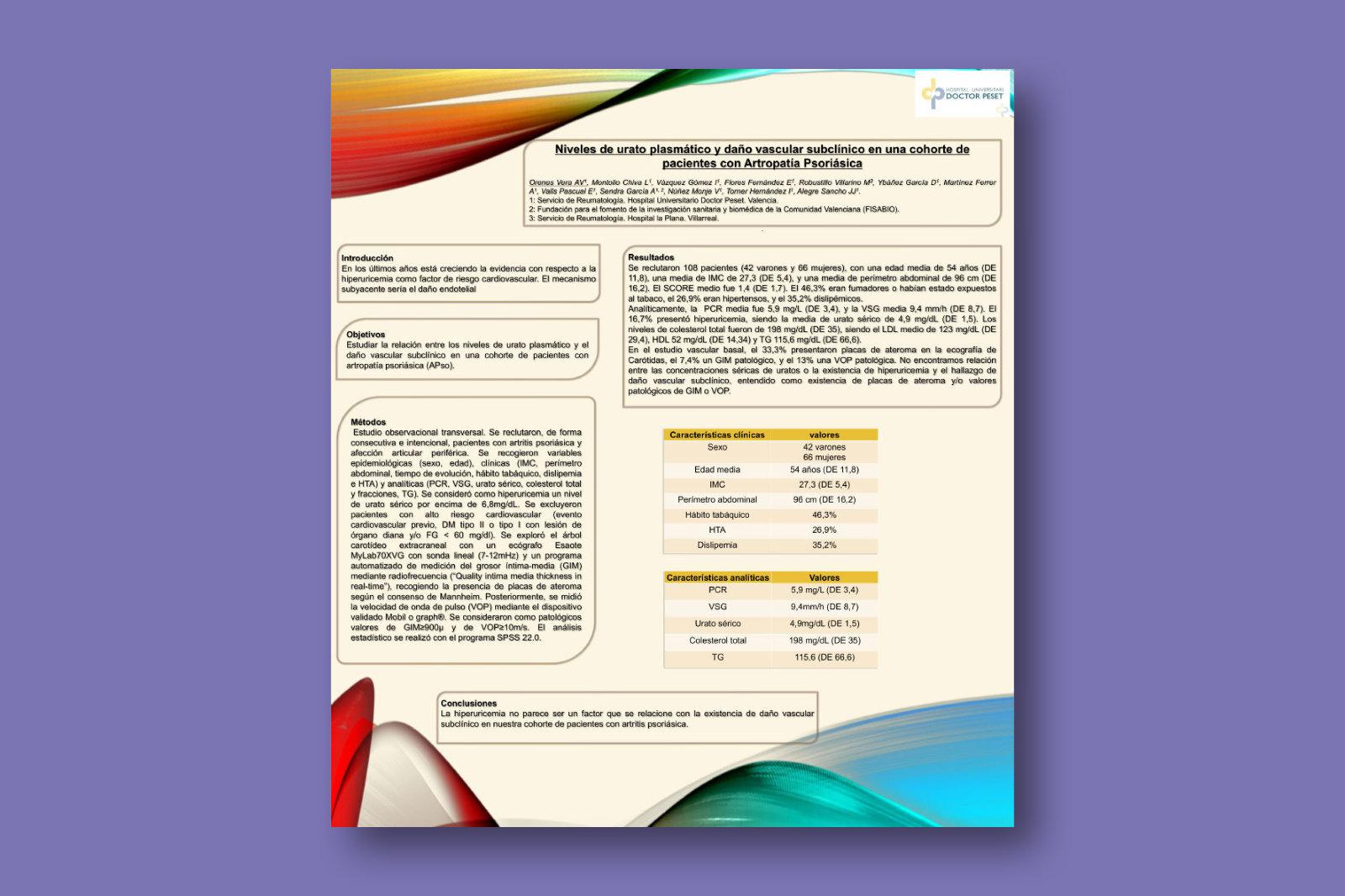 Niveles de urato plasmático y daño vascular subclínico en una cohorte de pacientes con artropatía psoriásica