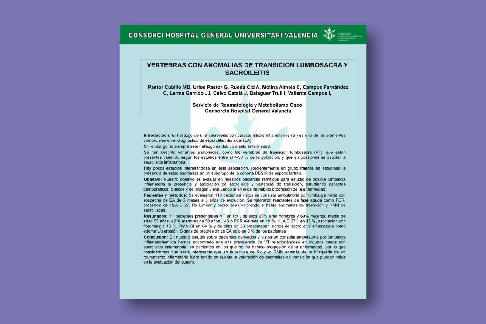 Vértebras con anomalías de transición lumbosacra y sacroileitis