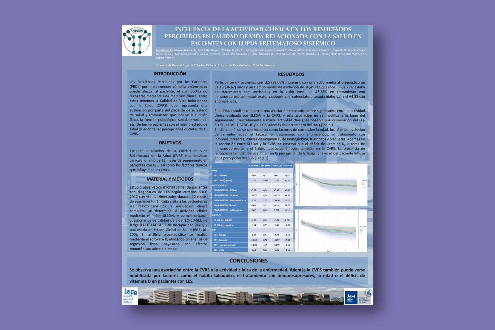 Influencia de la actividad clínica en los resultados percibidos en calidad de vida relacionada con la salud en pacientes con lupus eritematoso sistémico