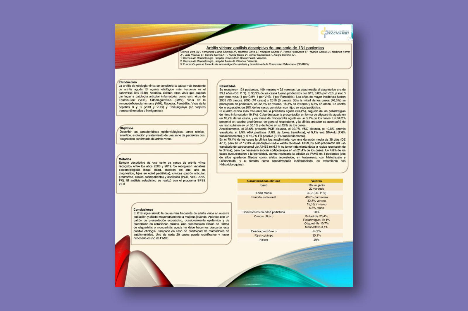 Artritis víricas: análisis descriptivo de una serie de 131 pacientes