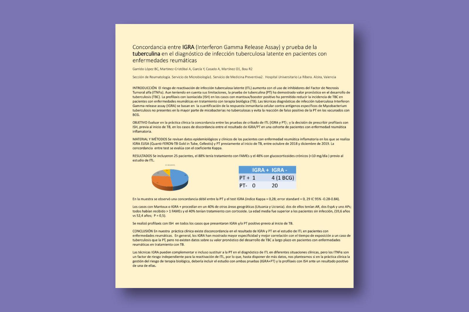 Concordancia entre IGRA (Interferon Gamma Release Assay) y prueba de la tuberculina en el diagnóstico de infección tuberculosa latente en pacientes con enfermedades reumáticas