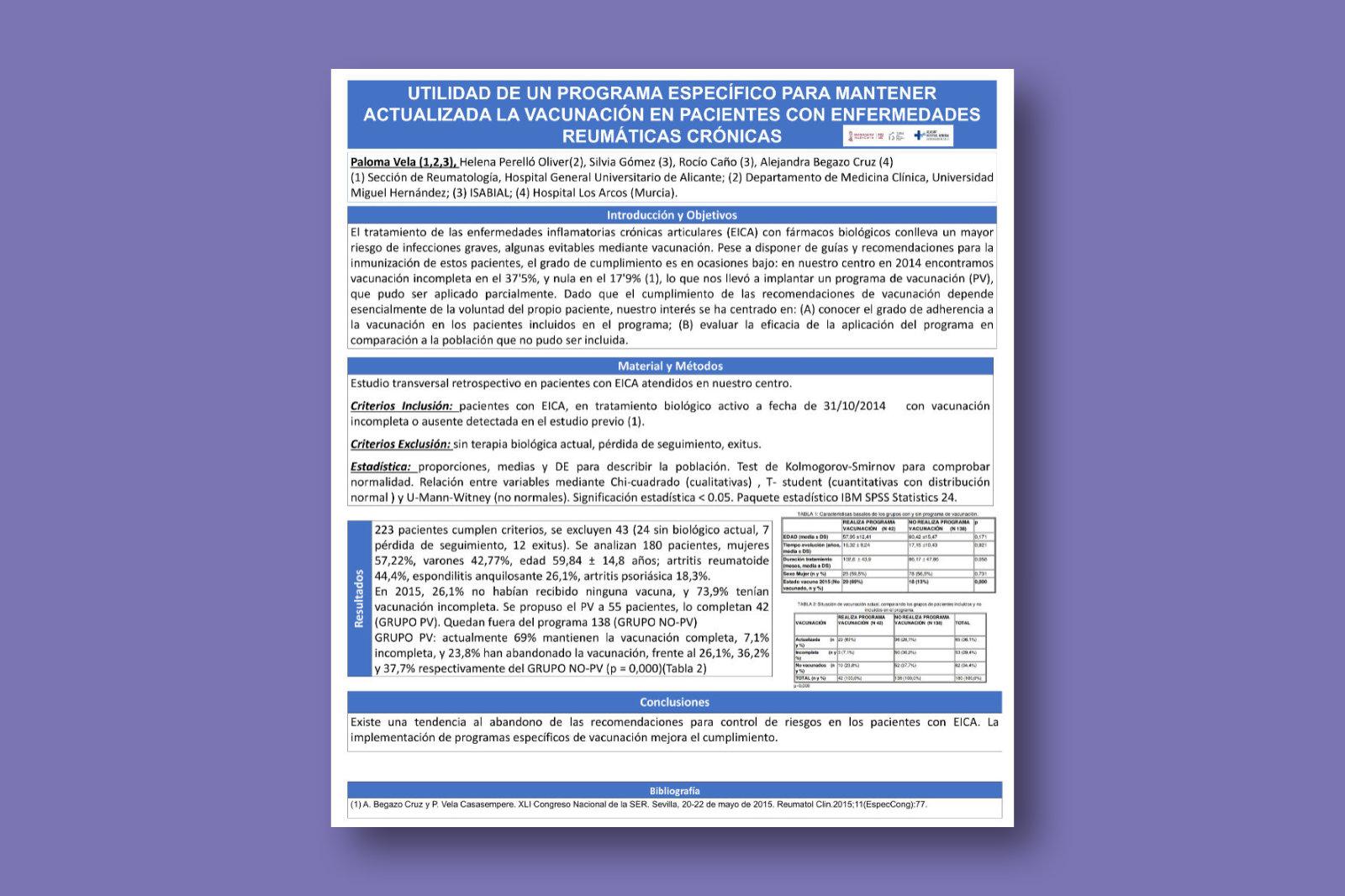 Utilidad de un programa específico para mantener actualizada la vacunación en pacientes con enfermedades reumáticas crónicas