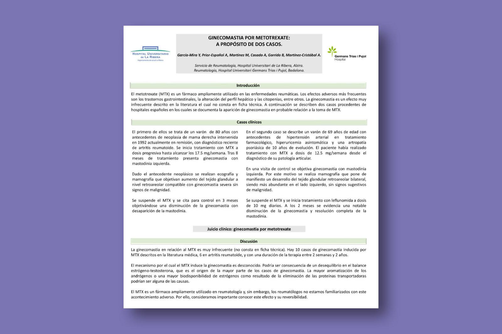 Ginecomastia por metotrexate: a propósito de dos casos