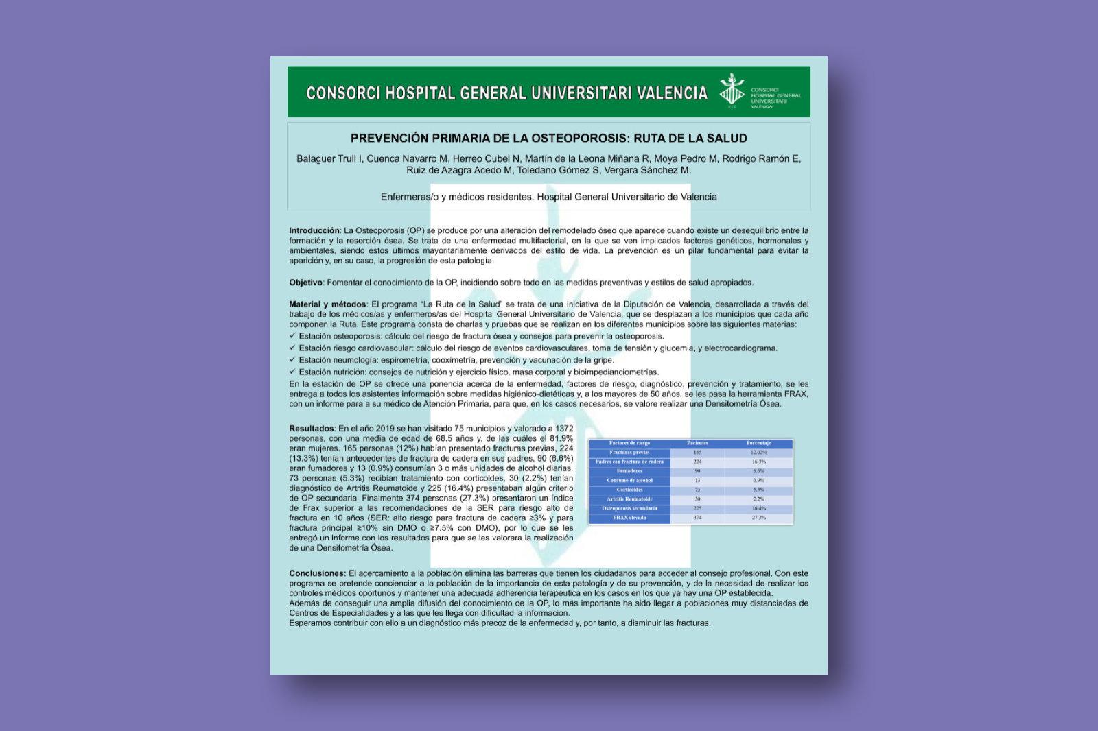 Prevención primaria de la osteoporosis: ruta de la salud