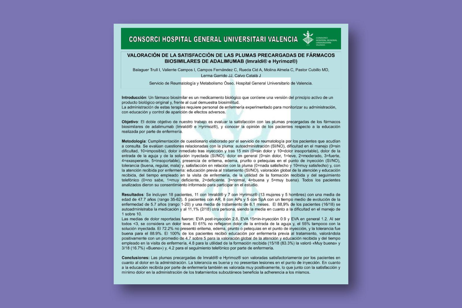 Valoración de la satisfacción de las plumas precargadas de fármacos biosimilares de adalimumab (Imraldi e Hyrimoz)
