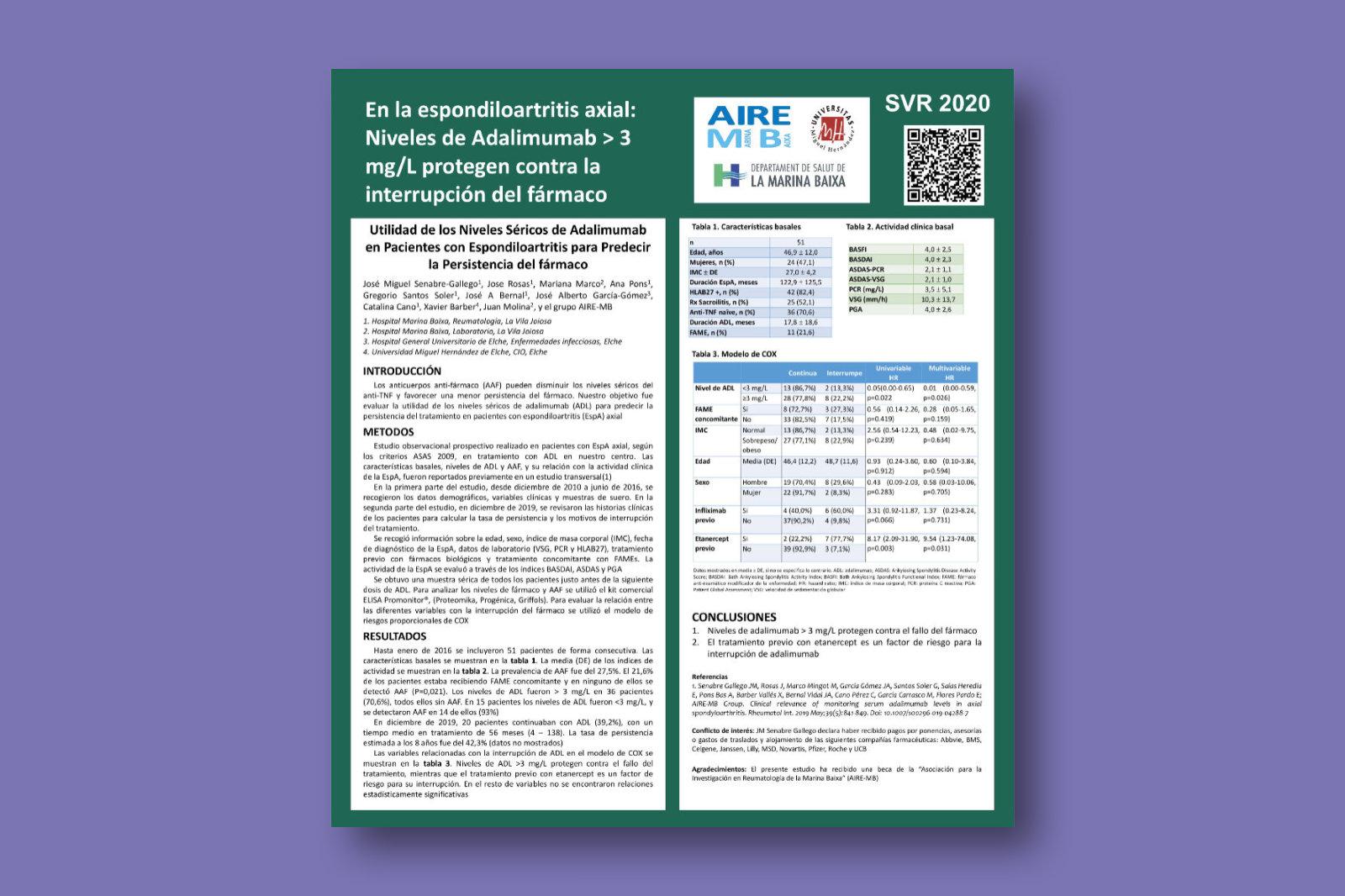 Utilidad de los niveles séricos de adalimumab en pacientes con espondiloartritis para predecir la persistencia del fármaco