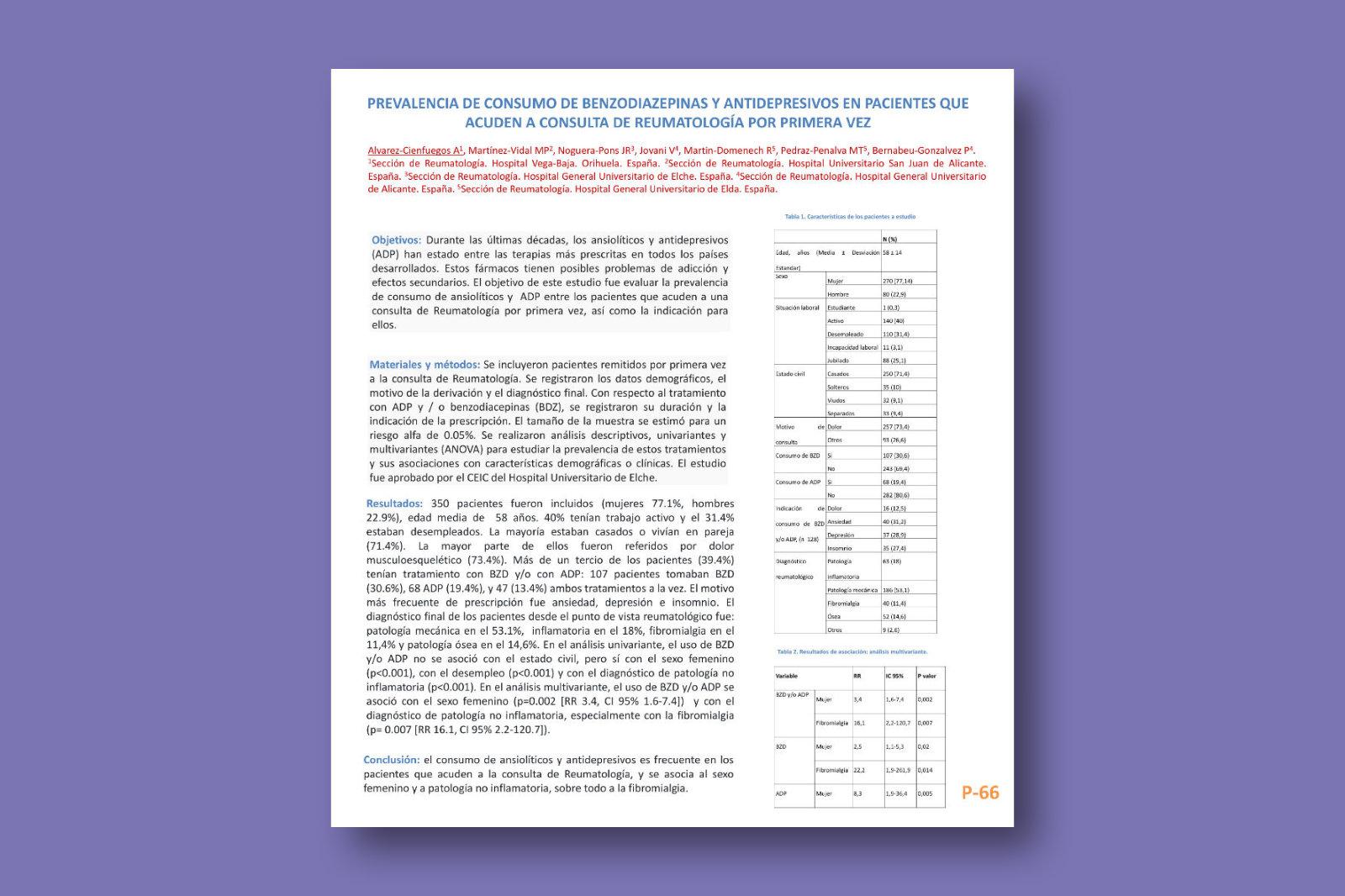 Prevalencia de consumo de benzodiazepinas y antidepresivos en pacientes que acuden a consulta de reumatología por primera vez